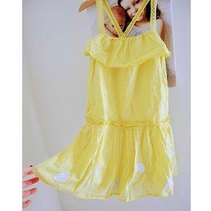 ❤️3/$30 Derhy Kids yellow eyelet embroidered dress
